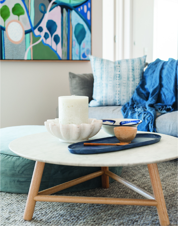 Rental properties - styled coffee table with candle
