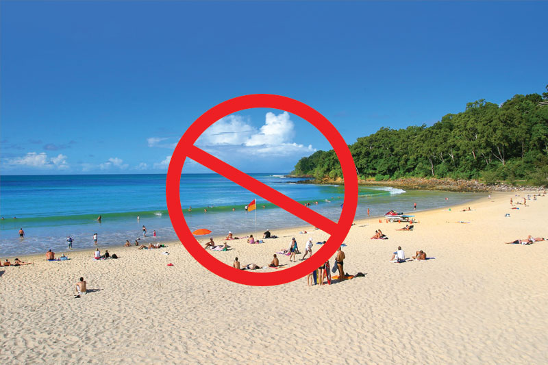 Beach is a no-go zone